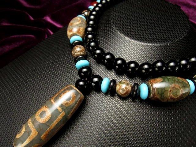 緑龍紋天珠首飾り 九眼天珠&三眼天珠 タイプ21 ネックレスサイズ約82cm 瑪瑙製