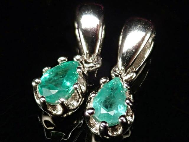 超透明宝石質5A エメラルド(翠玉)ペンダント ドロップカット 石サイズ縦約5mm Silver925 クラウンデザイン 世界四大宝石の一つ コロンビア産