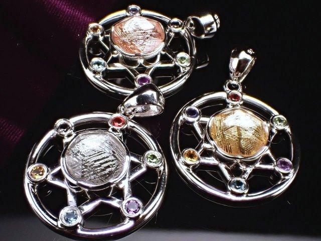 激安宣言 選べる3種 ギベオン(隕石)六芒星リング ペンダントトップ 縦約20.1mm SILVER925(バチカン含まない) ゴールド ピンクゴールド シルバー メテオライト ナミビア・ハルダブ州産 geki-met2F53