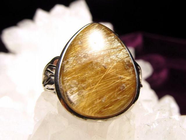 ゴールドルチル リング フリーサイズ 13号~ 石サイズ 17mm×13mm 指輪 SILVER925 針入り水晶 ブラジル産