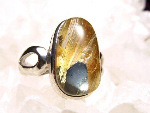 ヘマタイト ゴールドタイチンルチル リング 11号 石サイズ 15mm×9mm 指輪 SILVER925 針入り水晶 ブラジル産