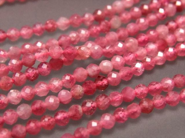 極小サイズ ピンクサファイア(ルビー)カット 2-2.5mm 一連 約39cm キラキラミラーカット 透明感のあるピンク系 ミャンマー産