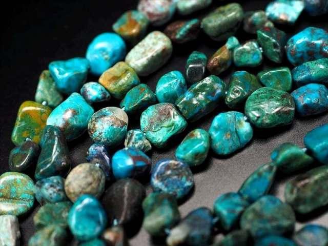 クリソコラ タンブル 連 粒サイズ約4-6.5mm 一連 約40cm 高品質入荷 お買い得タンブル連 珪孔雀石