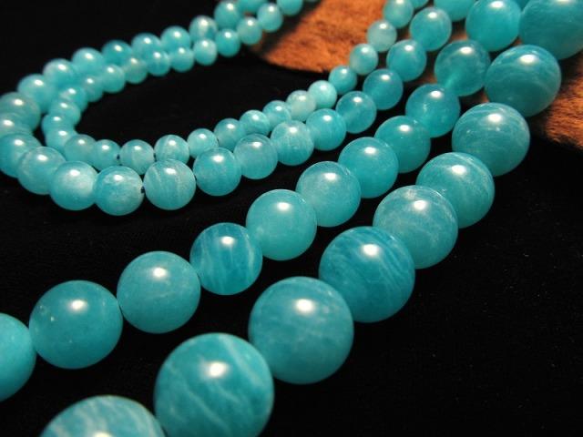 クリア アマゾナイト 12mm珠 一連 約40cm 激安入荷 希少 透明感抜群 美麗クリアブルー 希望の象徴 幸運を呼ぶ石 天然石 ビーズ ウイグル産