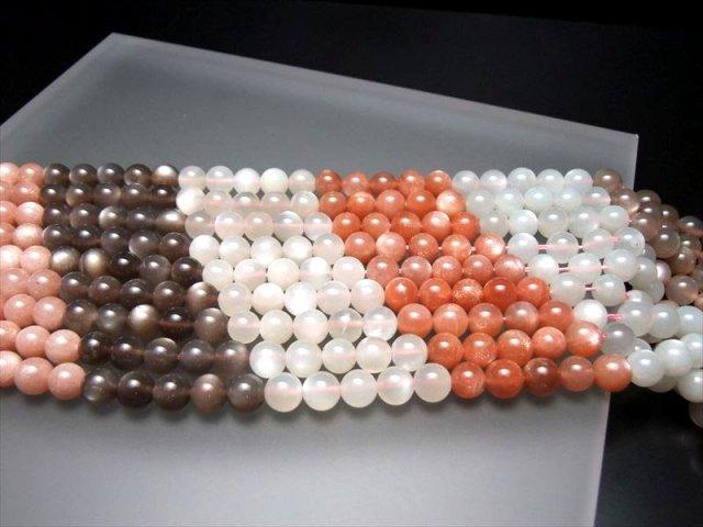 3A サンストーン & ムーンストーン 連 6mm珠 一連 39cm 透明感もある極上グレードの連売り 太陽の石と月の石