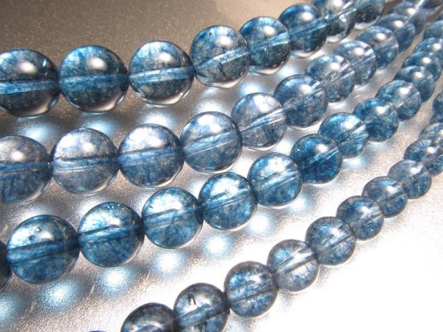 今回は濃いめ 2A ロンドンブルー クォーツ 10mm珠 一連 約39cm 透明キャンディーカラー キャンディーカラー水晶 天然石 ビーズ 2021年2月入荷画像有り