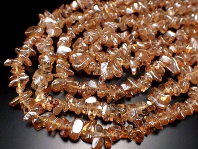 ゴールデンオーラさざれ連 約5-10mm 一連約40cm ブラジル産 美しい光沢