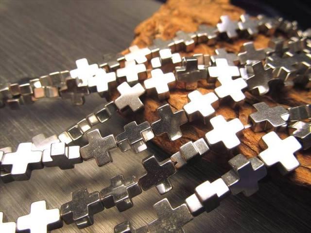 激安宣言 十字架 クロス型 8mm珠 ヘマタイト(赤鉄鉱) 一連 約39cm オリジナリティの強い独特のカタチ ブラジル産 geki