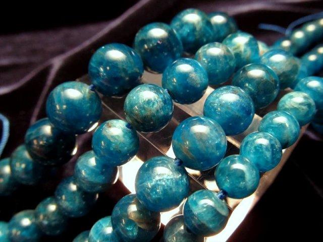 約10mm珠 (濃色ブルー) ブルーアパタイト 一連 約40cm ネックレスなどに!キャッツアイ効果のある珠も! ブラジル産