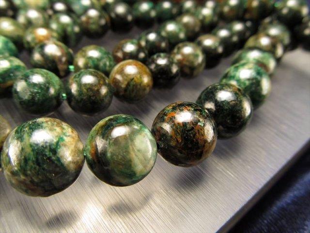 希少 クレイジーグリーンマイカ 12mm珠 一連 明るい希望とチャンスを引き寄せてくれる石 ブラジル産
