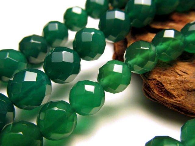 カット 10mm珠 グリーンアゲート〈緑瑪瑙〉 一連 約40cm 天然石 ビーズ パワーストーン