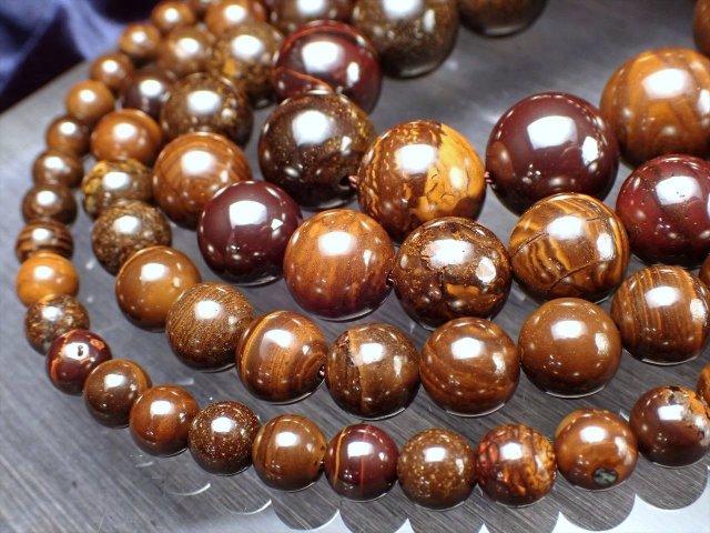 12mm珠 ボルダー・オパール(蛋白石) 連 約40cm 大地の神秘・美しさを持つ石 唯一無二の模様 オーストラリア産
