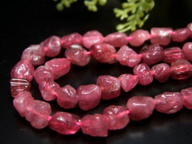 ピンクトルマリン(電気石)原石 タンブル 連 粒サイズ約4mm-6mm 一連 約40cm 高品質入荷 お買い得タンブル連 ブラジル産