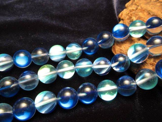 ディープブルー・レインボーグラスオーラ・ルナフラッシュ 10mm珠 一連 約39cm 人工石