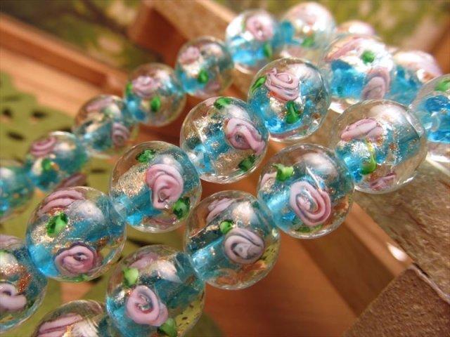 金彩ローズタイプC トンボ玉(とんぼ玉)ビーズ ラウンド型 12mm珠 一連 約32cm 30珠前後 昔ながらの人工ビーズ