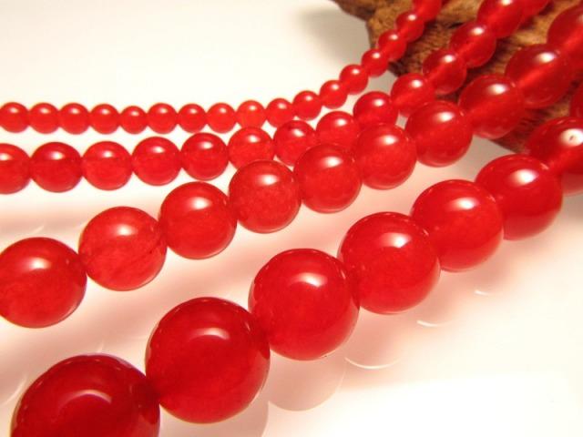 レッドアゲート (赤瑪瑙) 6mm珠 一連 約40cm 天然石 連売り ビーズ