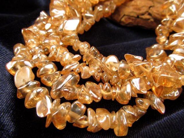 ゴールデンオーラさざれ連 一連約85cm 約5-10mm ネックレスなどに 美しい光沢 ブラジル産