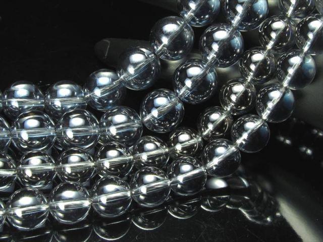 激安宣言 一連破格 6mm珠 シルバーオーラ 蒸着水晶 約40cm 極上 天然石 ビーズ パワーストーン geki