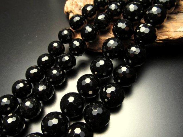激安宣言 128面カット ブラックオニキス 10mm珠 一連 約40cm ブラジル産