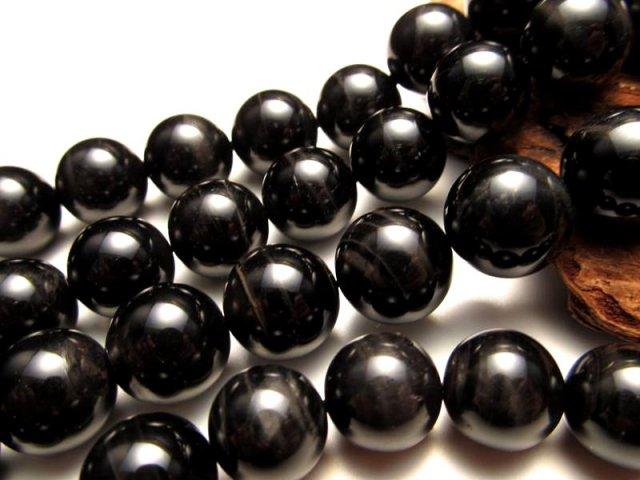 激安宣言 4A 12mm珠 ブラックタイガーアイ(黒虎目石) 一連 約40cm 漆黒シャトヤンシー効果 南アフリカ産 geki