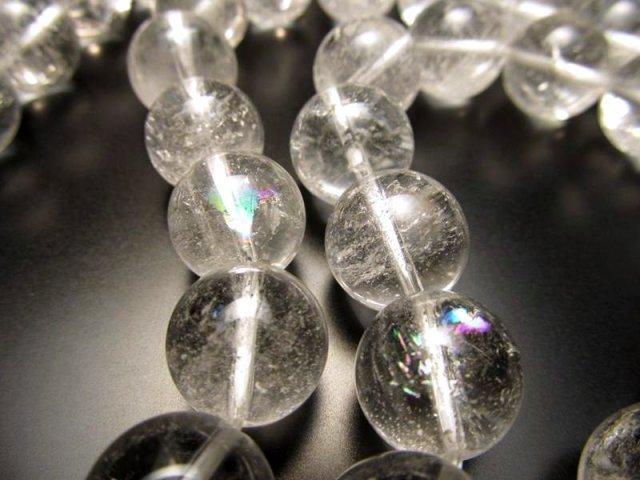 虹クラック入り A+ 14mm珠 一連 天然ヒマラヤ水晶 (クリスタル) 約40cm 極上 天然石 ビーズ パワーストーン