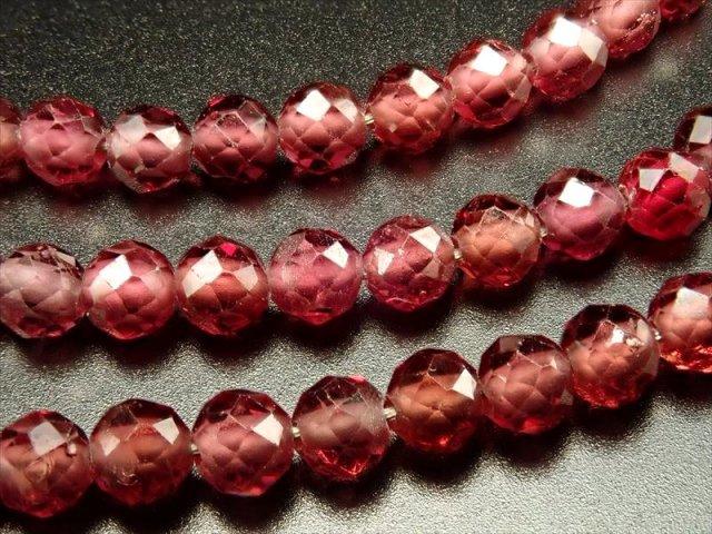 約2mm珠 レッドカラースピネルボタンカット 一連 約40cm カラーグラデーション 小サイズ ネックレスなどに ミャンマー産