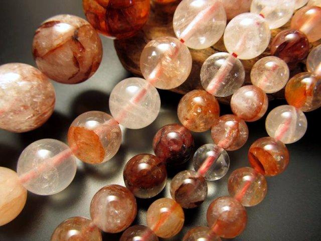 6mm珠 天然レッドクリスタル(レッドガーデン、レッドファントム入り水晶) 一連 約38cm 赤水晶 マダガスカル産