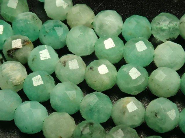 約3.5mm エメラルド ボールカット連 一連 約39cm 鮮やかなグリーン ボールカット ザンビア産