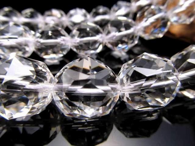 宝石質スターカット5A【14mm珠 天然水晶スターカット(クリスタル)】 一連 約40cm 最高級【ブラジル産】
