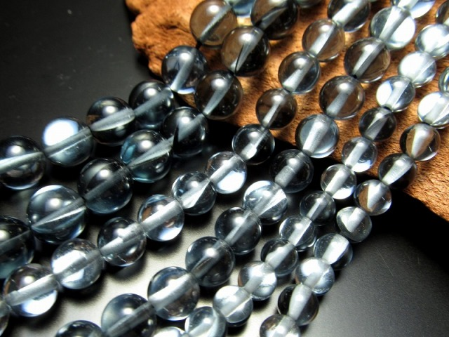 【8mm珠 ブラックシルバー・レインボーグラスオーラ・ルナフラッシュ】一連 約38cm【人工石】【geki】