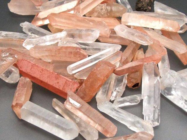 透明&オレンジ MIXタンジェリン 天然クリスタルポイント詰め合わせ 約200グラム入り 天然水晶結晶ポイントのMIX詰め合わせ 四川省産