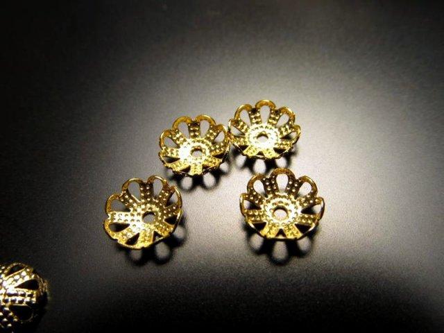 G3 花型飾り金具メタルパーツ ゴールド 約8mm 激安約150個入り