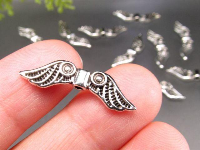 天使の羽 アクセサリーパーツ 1セット10個入り 横23mm×縦7mm メタルパーツ シルバー エンジェル ブレスレット ペンダントに