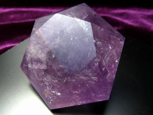 虹入り♪ 天然アメジスト ヘキサゴンダイアモンドカットストーン 最大幅約60mm 約120g 2月の誕生石 1点物 紫水晶 ブラジル産