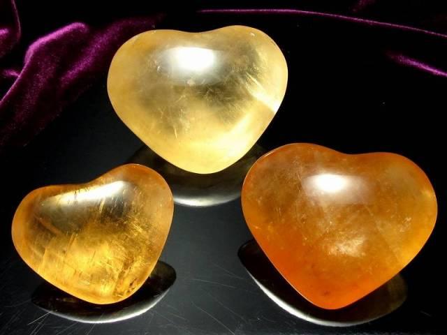 1個売り ゴールデンカルサイト ハート タンブル 重さ約80g-90g 美麗 超透明 虹入りも 繁栄と成功の象徴 メキシコ産
