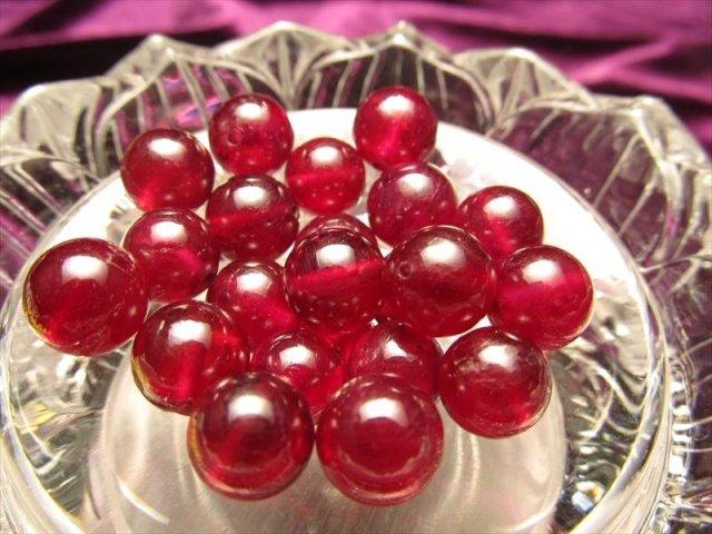 最高級品質 宝石質ルビー(紅玉) バラ 珠売り 約7mm珠 宝石の女王 濃厚レッド 透明感抜群 ミャンマー産