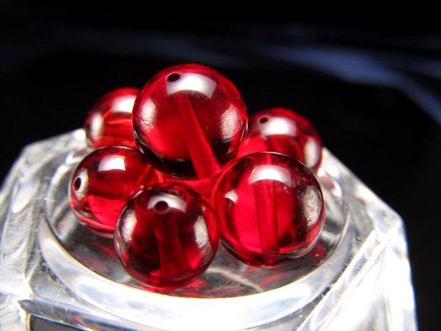 4A ルビーレッドアンバー ビーズ石 約10mm珠 1珠売り 極上透明 発色美しいリトアニアアンバー 天然琥珀バルト海産