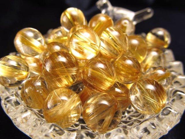 1粒売り 超透明 & 黄金結晶ゴールドタイチンルチルクォーツ 8.5mm-9mm珠 バラ珠売り ブラジル産