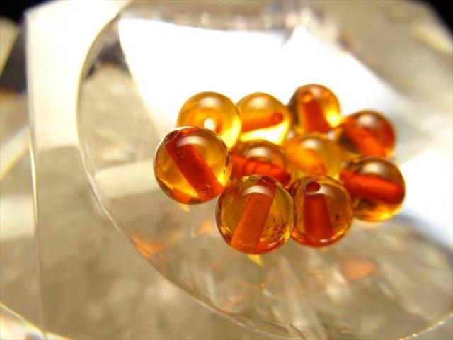 1粒売り 超透明5A コニャックアンバー(天然琥珀)バラ珠売り 約9mm 琥珀の王道 バルト海産