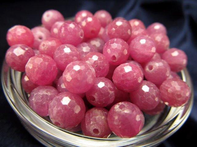 1粒珠売り パープルピンクカラー ルビー(紅玉)ミラーボールカットビーズ石 約6mm-6.5mm珠 バラ珠売り ミャンマー産