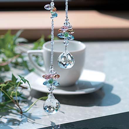 カラフル フラワー ツイン サンキャッチャー 全長 約50cm 高品質 クリスタルガラス