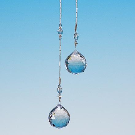 クリスタルガラス&本水晶 ツインデザイン サンキャッチャー 全長 約53cm 高品質 クリスタルガラス