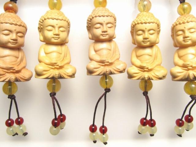 木彫り ミニ大仏くん ストラップ 手彫り 坐像(ざぞう)阿弥陀如来像 風水やインテリアに