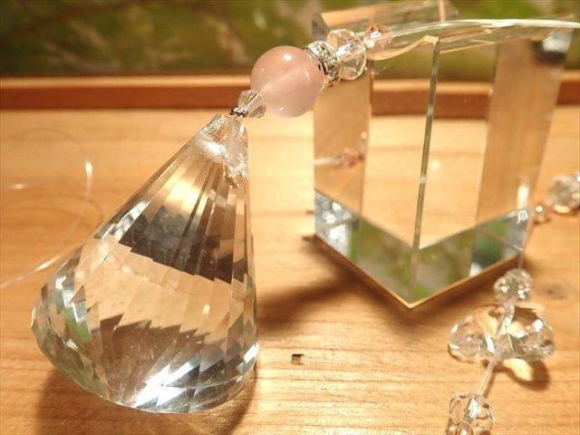 天然石使用バージョン 虹いっぱい バタフライ ローズ 高品質ビーズクラフト サンキャッチャー 全長約50cm ミラーボールサイズ縦約4cm