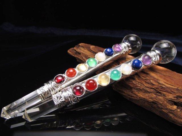 水晶 マジックワンド 長さ約105mm-120mm ヒーリングワンド 天然水晶丸玉 七つの宝石付き シルバー