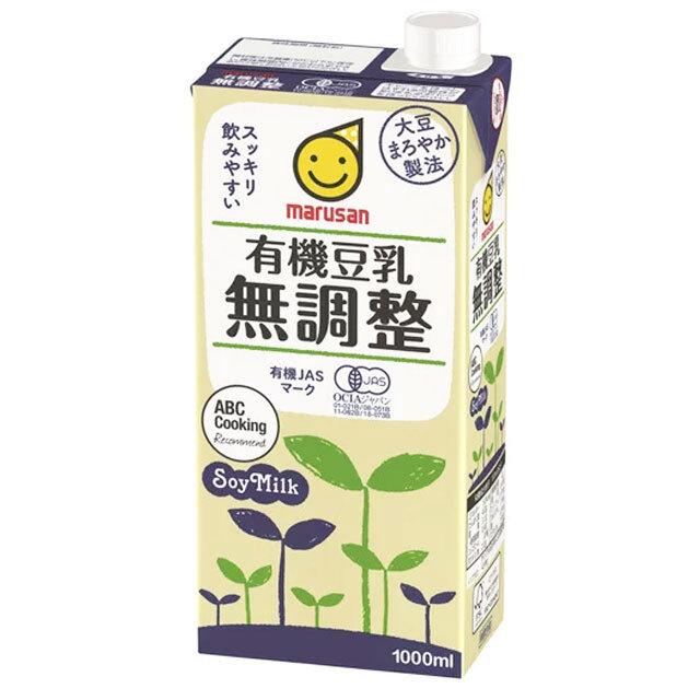 marusan 無調整豆乳 有機豆乳無調整 1000mL 1ケース(6本入り)