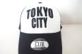 【CUE】TOKYO CITY メッシュ(白×黒×黒刺繍)