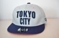 【CUE】TOKYO CITY フラット(グレー×ネイビー刺繍、赤ツバ裏)