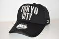 【CUE】TOKYO CITY メッシュ (黒×シルバー刺繍)
