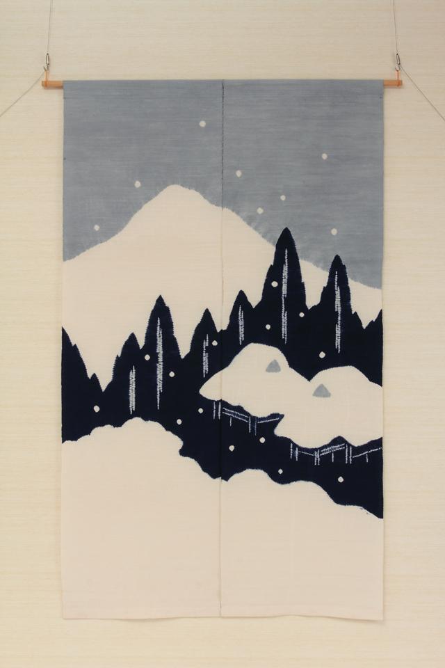 京絞り 絹地のれん 美山の里の雪景色